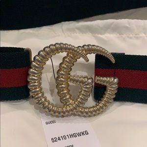 NEW Gucci Belt Gold Size 85 Adjustable Canvas